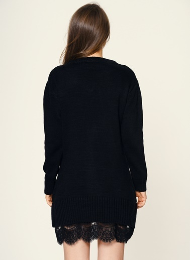 Loves You Eteği Dantel Garnili Tunik Elbise Siyah